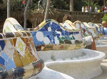 Parc Guell, Mosaic Tile, Serpentine Bench, Barcelona Spain