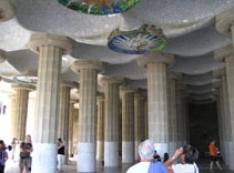 gaudi parc guell, columns, guell park, trip to barcelona, tourist in barcelona