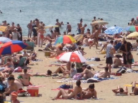 barceloneta, beach barcelona, swimming barcelona, topless beach barcelona
