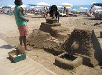 barcelona beach, barceloneta, sand castles