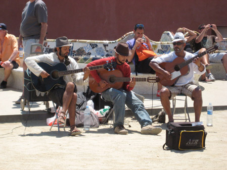 guitarists, musicians, parc guell, top 10 sights, barcelona, gaudi park