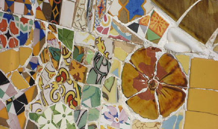 parc guell, guell parc, guell park, gaudi parc barcelona, mosaics, trencadis