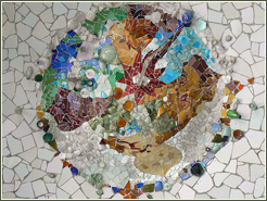 Mosaic Art at Parc Guell in Barcelona